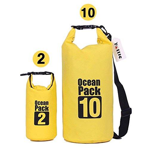 Kottle (2 Pack) 10L/2L leggero impermeabile secco borse con tracolla regolabile durevole, Plus gratis telefono custodia, 500D impermeabile telo impermeabile (Giallo)