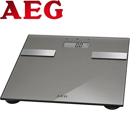 7in1 Analyse-Waage Glas Edelstahl bis 180 kg Personen-Waage Gewicht, Fettanalyse, Wasseranteil, Muskelmasse, Knochengewicht, Kalorien-Bedarf und BMI Wert (Elektronische Waage Fett)