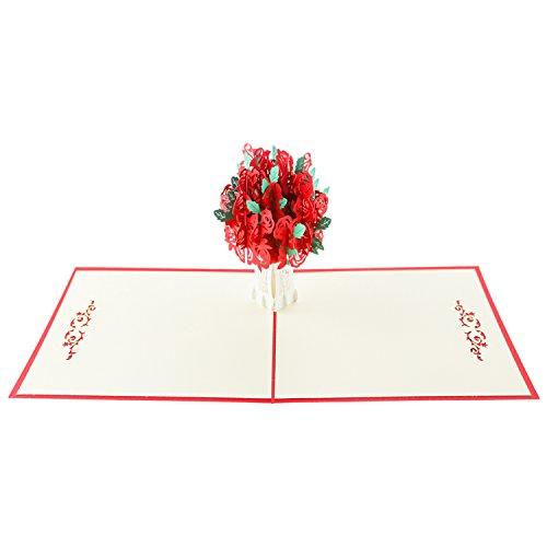 Zmoon 3D Blume knallen oben Karte, rote Rosen-Blüte knallen oben Gruß-Karte 15 * 15CM für Mamma-Geburtstags-Geschenk, Geburtstag + weißer Umschlag