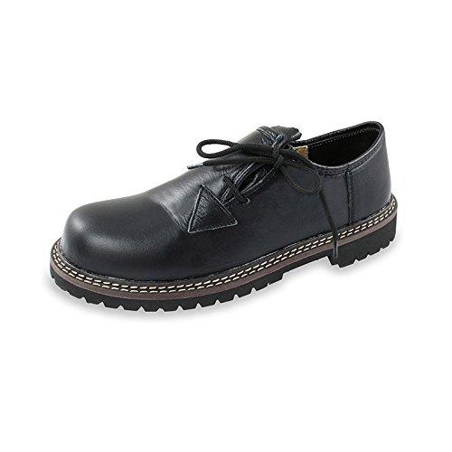 Alpenmode Haferlschuhe für Herren Trachten Schuhe aus Echtem Leder Ver. Größen (42, Schwarz)