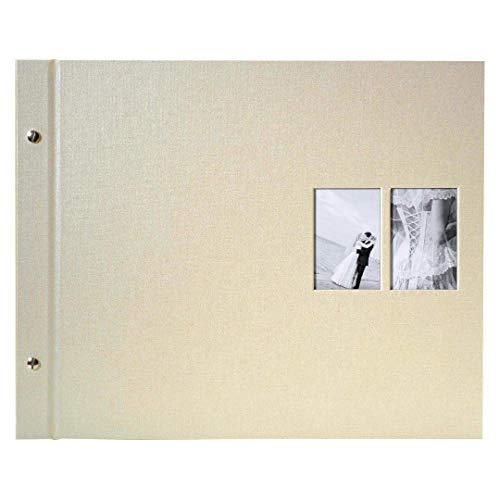 Goldbuch Schraubalbum mit Fensterausschnitt, Chromo, 39 x 31 cm, 40 weiße Seiten mit Pergamin-Trennblättern, Erweiterbar, Beschichtetes Leinen, Beige, 28847 -