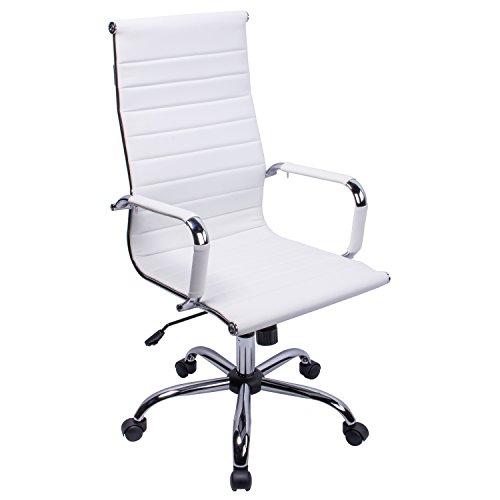 PU Leder Weiß Home Bürostuhl Chefsessel Computer Schreibtisch höhenverstellbar Drehstuhl weiß ()