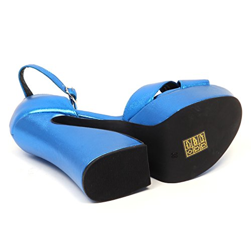 Jeffrey Campbell D9028 Sandalo Donna Blu STEFANYA Calf Shoe Woman Blu elettrico