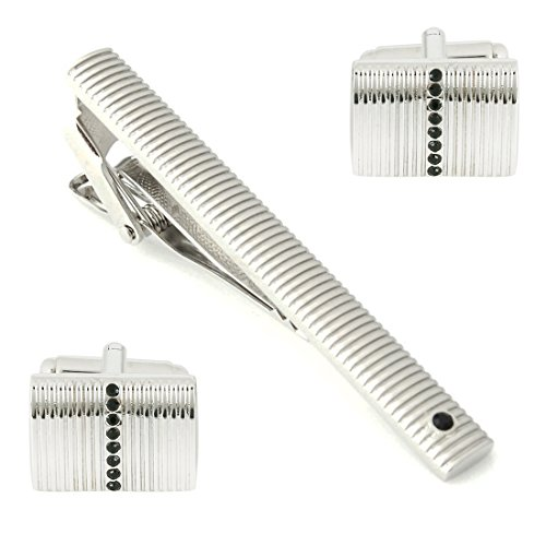 Peluche Mr. Dapper - Crystal Silver Colored Cufflink and TiePin Set for...