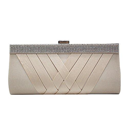 YYW Crystal Clutch Bag, Poschette giorno donna apricot
