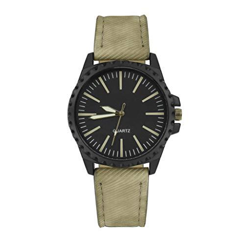IG Invictus Neue Mann Uhr Retro Entwurfs Leder Band analoge Legierungs Quarz Armbanduhr Vintage Herrenuhr aus Leder ZYB 6 Beige Retro Männer Leder Uhren