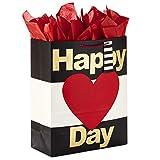 Hallmark 5VGB1867 X-Large Valentine's Gift Bag with Tissue Paper (Happy Heart Day) Geschenktasche, Papier, Mehrfarbig