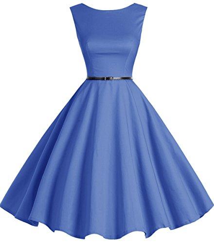 Bbonlinedress modèle 2 Vintage rétro 1950's Audrey Hepburn robe de soirée cocktail année 50 Rockabilly Bleu Saphir