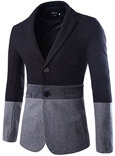 Jeansian Hommes Manteau Leisure Simple Furry Suit Jacket 9390 gray