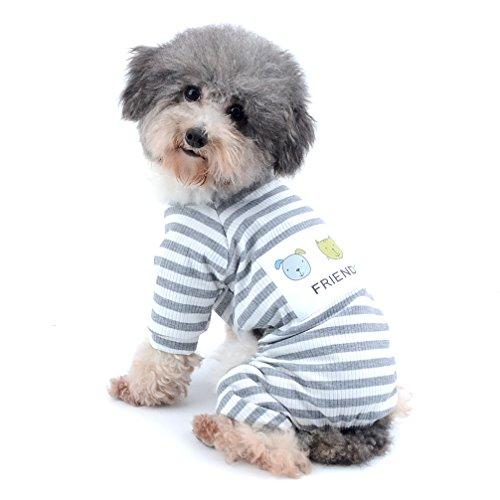 Hunde Passenden Kostüm Und Mädchen - Ranphy Kleiner Hund Streifen Schlafanzüge Bequemer Baumwolle Haustier Kleidung Puppy Jumpsuit Pyjama Katze Apparel Shirt Mädchen Jungen Für Sommer Herbst, XXL, grau