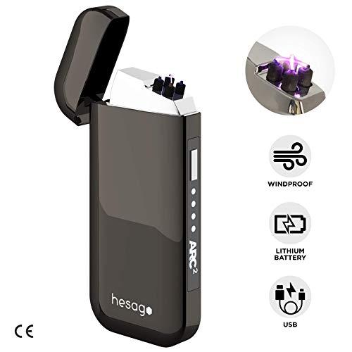 Hesago Arc2 Elektrischer Feuerzeug, USB auf Plasma Doppel Bogen - Winddicht - 2a Generation - Elegante Geschenkverpackung (Auto-zigarren-feuerzeug)