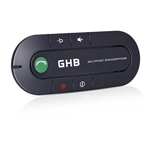 GHB Vivavoce Bluetooth Ricevitore Bluetooth Kit Multipoint 4.1 per Auto su Aletta Parasole - Nero