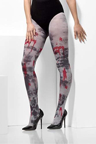 Smiffys Damen Blickdichte Zombie Schmutz Strumpfhose mit Blut Flecken, One Size, Grau und Rot, 48316