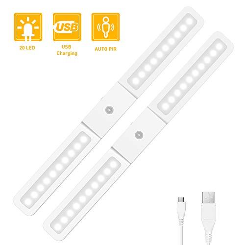 Led-Schrankbeleuchtung Unterbauleuchte, Tasmor Küchenunterbauleuchte mit Bewegungsmelder 40 × 4 × 2,5 cm USB aufladbare(2 Stücke)
