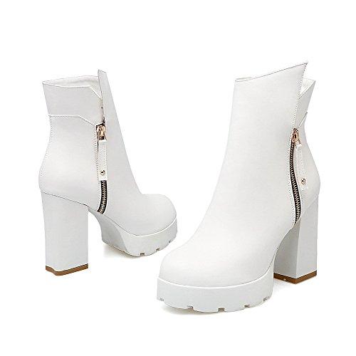 AllhqFashion Damen Niedriger Absatz Niedrig-Spitze Rein Stiefel mit Metallisch, Weiß, 42