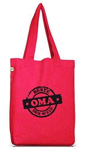 Shirtstreet24, Beste Oma der Welt Stempel, Jutebeutel Stoff Tasche Earth Positive Hot Pink