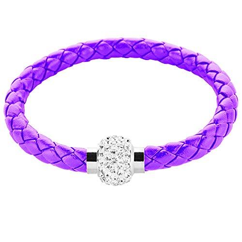 Lila Nappa-leder (Mianova Damen Armband Armreif geflochten mit Swarovski Elements Strass Kristall Shamballa Perlen Leder Leder Armband Armreif Magnet Lila)
