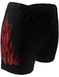 Homme Maillot de Bain Natation Short de Bain Sous-vêtements Noir Imprimé Feu Rouge
