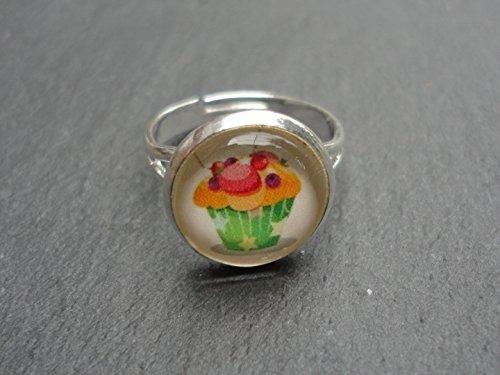 ring-rund-cupcake-frchte-silberfarben-klein-glas-verstellbar