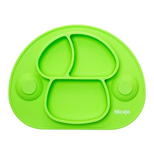 Piatto pappa neonato con ventosa di 2a generazione - silicone alimentare - tovaglietta antiscivolo per seggiolone - tre scomparti - bambini 6 18 mesi - va in lavastoviglie (verde)