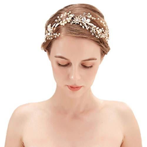 QJKai Braut Handgemachte Perle Hochzeit Stirnbänder Strass Haarband Braut Kopfschmuck Kristall Tiara Hochzeit Haarschmuck Kostüm Zubehör Für Frauen