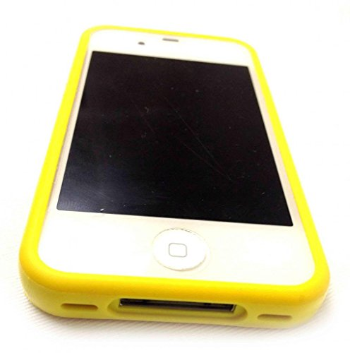 G4GADGET® Iphone 4S/4 Silicon Bumper White/Green 4S/4Yellow
