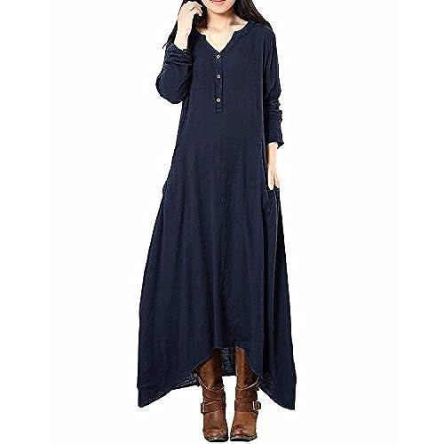 StyleDome Women's V Neck Casual Baggy Long Sleeve Boho Vintage Kaftan Plus Long  Maxi Dress Navy UK 24