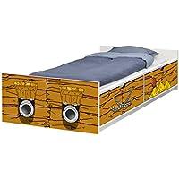 Piratenschiff Möbelfolie - FLX09 - passend für das Kinderbett FLAXA von IKEA - Klebefolie passgenau für Schubkästen und eine Stirnseite
