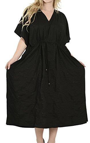 La Leela -  Camicia da notte  - Kimono - Opaco - Donna Schwarz 5