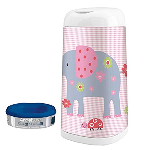 Angelcare Windeleimer Dress-Up XL 66 cm Höhe mit Bezug Elephant Family | 2380 + 2382