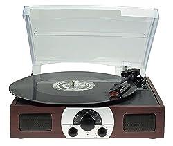 Disco Portatile A 3 Cifre Portatile Con Altoparlanti Stereo Dinamici Incorporati, Radio Stereo Analogico Amfm E Linea Audio Sorgente In Legno Naturale