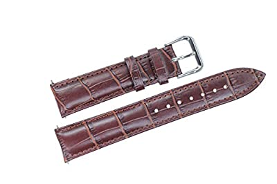28 mm de ancho marrón correas de reloj de cuero acolchado bandas genuina piel de ternera de grano superior para grandes grandes relojes de los hombres del grosgrain de cocodrilo en relieve