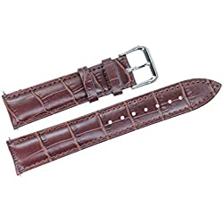 20mm Brown Leather Watch Band/Strap Replacement for Mid-Range Watches Padded Grosgrain(Spring Bars Included)