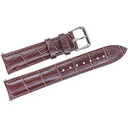 24mm braun Leder Armband Ersatz für Herren-Mid-Range-Uhren gepolsterte Alligatorprägung (Federstäbe enthalten)