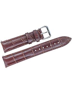 20mm braun Leder Armband / Bügel Ersatz für Mid-Range-Uhren gepolsterte Gros Grain (Federstäbe enthalten)