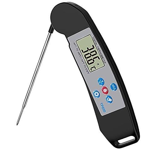 Nuovoware Thermomètre de Cuisson ,Haute Précision Numérique à Lecture Instantanée Thermomètre à Viande avec Rétroéclairage écran LCD, Sonde Thermo-Sonde de Cuisson Pliable pour Barbecue, Noir