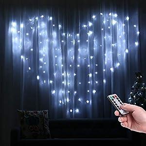 LED Lichtervorhang Herzförmig, Qedertek 124 LED Herz Lichterketten 2m x 1.5m 8 Modi Lichterkettenvorhang Kalteweiß Innenbeleuchtung für Hochzeit, Heiratsantrag, Geburtstag, Schlafzimmerdekoration