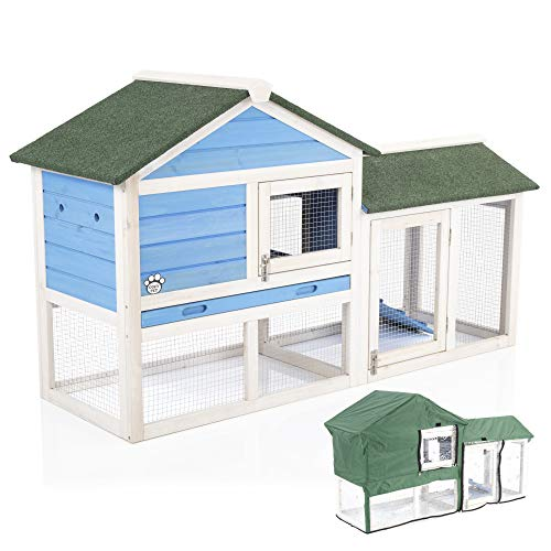 Cozy Pet Rabbit Hutch & Cover Guinea Pig Hutches Run Runs Large 2 Tier Double Decker Ferret Cage in Blue RH01BL+RH01C (We do not ship to NI, Scottish Highlands & Islands Channel Islands, IOM or IOW.)