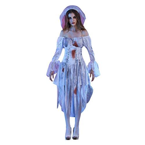 (Hunpta Erwachsene Frauen weiße Leiche Braut Halloween Cosplay Party Kostüm (L, Weiß))