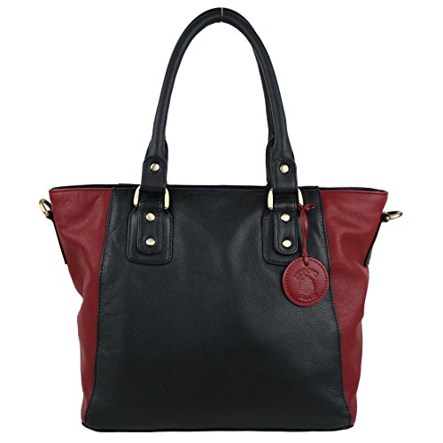 Mesdames sac à main en cuir bicolore Barre d'appui Sac par Hansson nordique bleu Collection Noir - noir/rouge