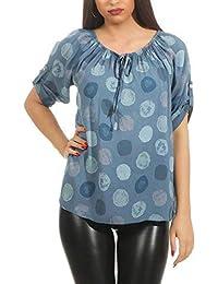 cleostyle Top Modische Bluse, Punkte, Tupfen Sommer Tunika mit Carmen  Ausschnitt 160 2ad8205cae