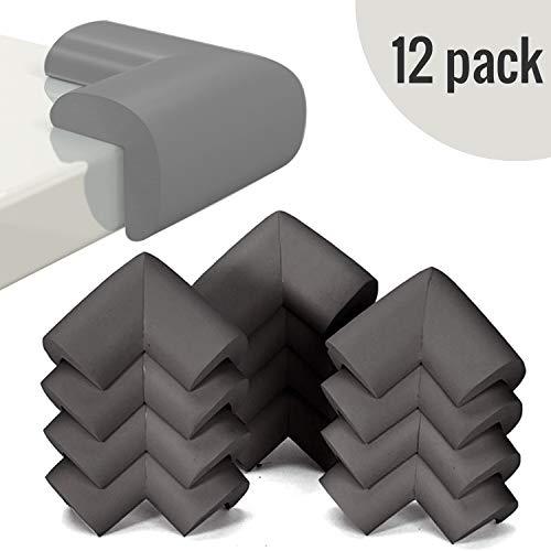InnoBeta 12 Stück Eckenschutz und Kantenschutz für kindersicherung, für Tisch- und Möbel-Ecken, Extradicke Eckenschutz aus Schaumstoff, Stoßschutz für Baby und Kinder(Schwarz)