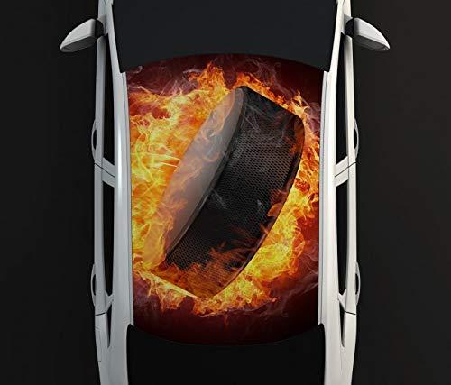 Digitaldruck Autoaufkleber Dach Eishockey Sport Scheibe Feuer Auto Tuning bunt Aufkleber Airbrush Racing Autofolie Car Wrapping CA382, D Aufkleber Größe:135cmx205cm