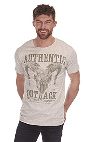 Cargo Bay Mens Printed Cotton Short Sleeve T-Shirt Oatmeal Authentic