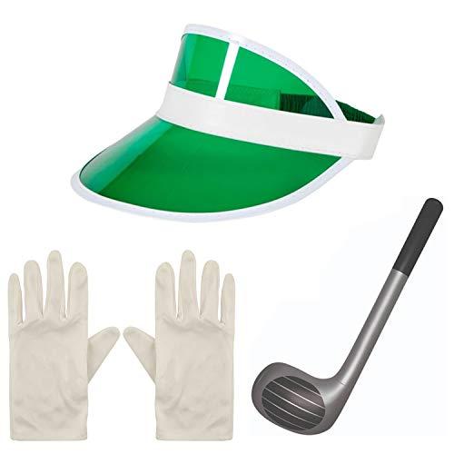 Angies Fashion Pub Golf Golfer Golf Golf Visor Cap Aufblasbarer Club & Handschuhe Fasching Junggesellinnenabschied Gr. Einheitsgröße, grün