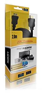 ABC Products® Replacement Canon Mini C HD HDMI Cable Cord Lead HTC-100 for Most EOS + Rebel DSLR / Ixus / Powershot / Elph Digital Camera and Legria Camcorder (Models Stated Below) V1.4 / High Speed with Ethernet / Gold Plated / 2 Metres Long