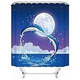 CQSMOO Stoff Duschvorhang Blau Delphin Polyester wasserdicht gepolsterte Badezimmer Duschvorhang Schimmel Partition Vorhang senden Haken (Größe: 120cm * 180cm) by (Größe : 300cm*200cm)