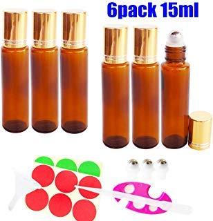 lasflaschen für ätherische Öle, Glas Roll-On Flaschen 15ml, nachfüllbarer Behälter Braun für Aromatherapie Parfüm mit Flaschenöffner Pipetten und Etikette, Ideal für Haus und Reise ()