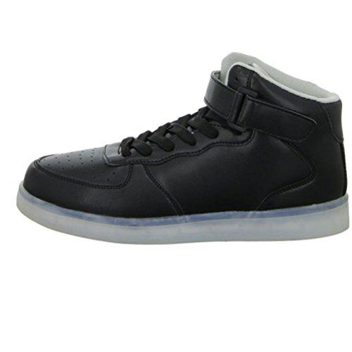 [Present:kleines Handtuch]JUNGLEST® Lackleder High-Top 7 Farbe LED Leuchtend Sport Schuhe Glow Sneakers USB Aufladen Turnschuhe für Unisex Herren Dam c36
