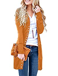 a93b904cbd16ee Merokeety Women's Long Sleeve Snap Button Down Solid Color Knit Ribbed  Neckline Cardigans